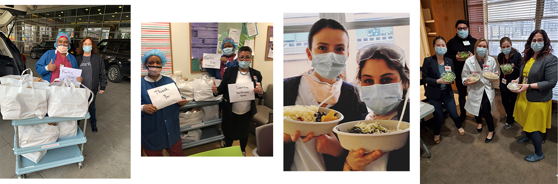 Healthcare workers with donated meals